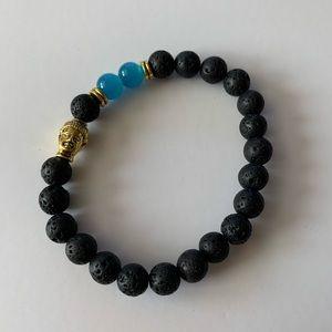 Blue agate Buddha lava rock diffuser bracelet